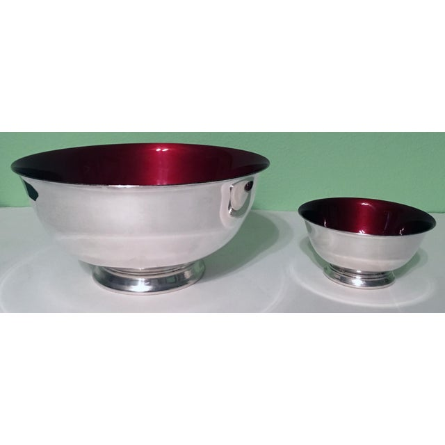 Silverplate Paul Revere Bowls With Red Enamel Interior - a Pair - Image 7 of 7