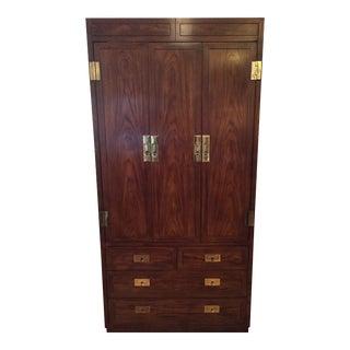 1980s Campaign Henredon Armoire Wardrobe Dresser For Sale