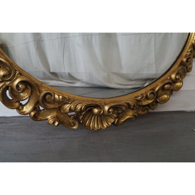 Antique Italian Rococo Style Giltwood Carved Oval Wall Mirror - Image 9 of 10
