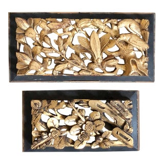Antique Chinese Carved Giltwood Panels- a Pair For Sale