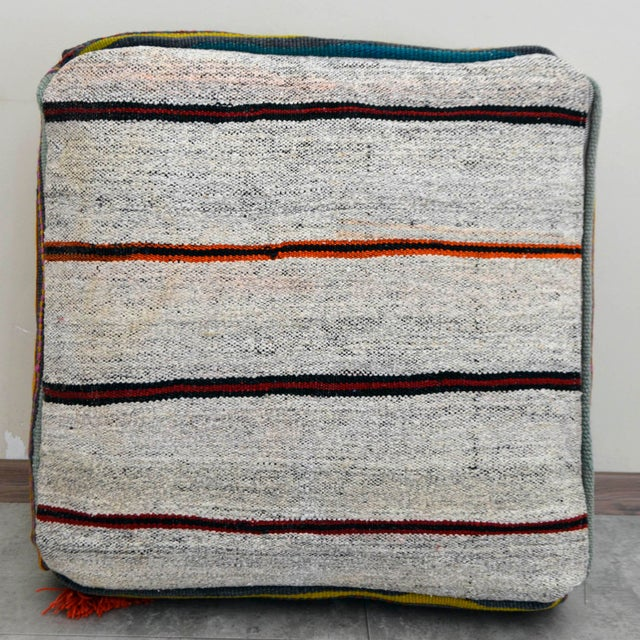 Turkish Hand Woven Floor Cushion Cover For Sale - Image 6 of 7