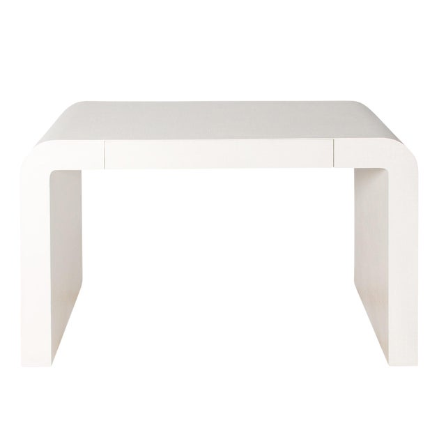 1970s Karl Springer Style White Grasscloth Waterfall Desk - Image 1 of 7