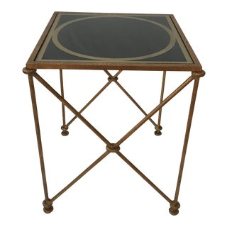 """Gold Brass Hollywood Regency Metal Glass """"X"""" Small Scale Accent Table For Sale"""