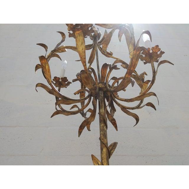 Mid-Century Modern 1950's Italian Florentine Gilt Tole Floral 4 Arm Floor Lamp For Sale - Image 3 of 12