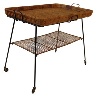 1950s Rattan and Iron Serving Cart For Sale