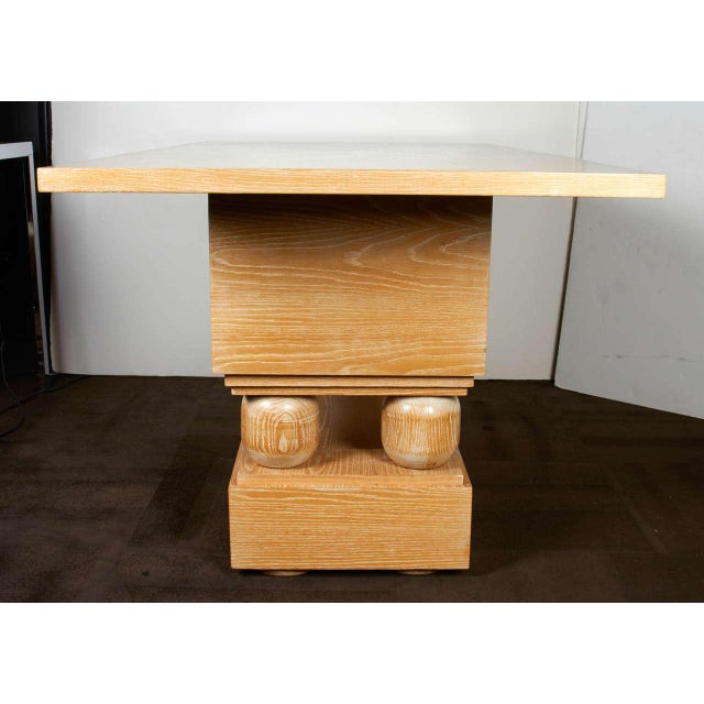 Lime Wood Hollywood Regency Limed Oak Console Table in the Style of Paul Dupre-Lafon For Sale - Image 7 of 9