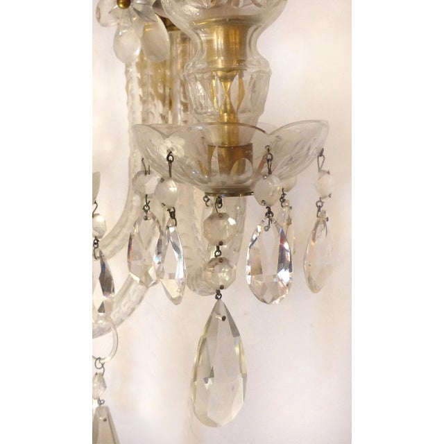 Gold Crystal & Bronze 1940's Three Arm Wall Electrified Wall Sconces - a Pair For Sale - Image 8 of 9
