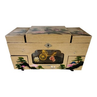 Antique 1900s Asian Musical Jewelry Box For Sale