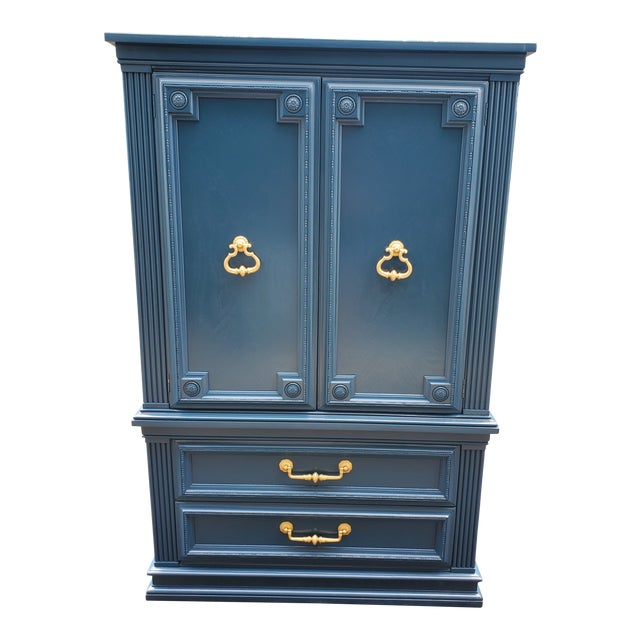 Vintage Moscow Midnight Blue Armoire For Sale