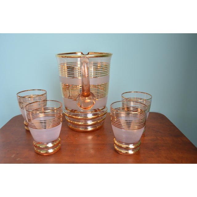 Gilt & Frosted Pitcher & Glasses Set - Image 3 of 5