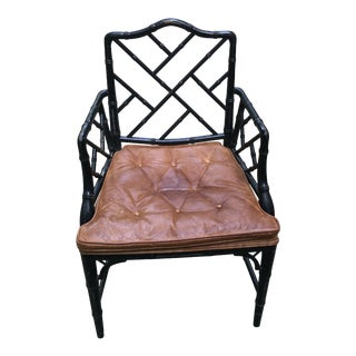 Vintage Century Furniture Co. Faux Bamboo Chinoiserie Chippendale Style Chair For Sale