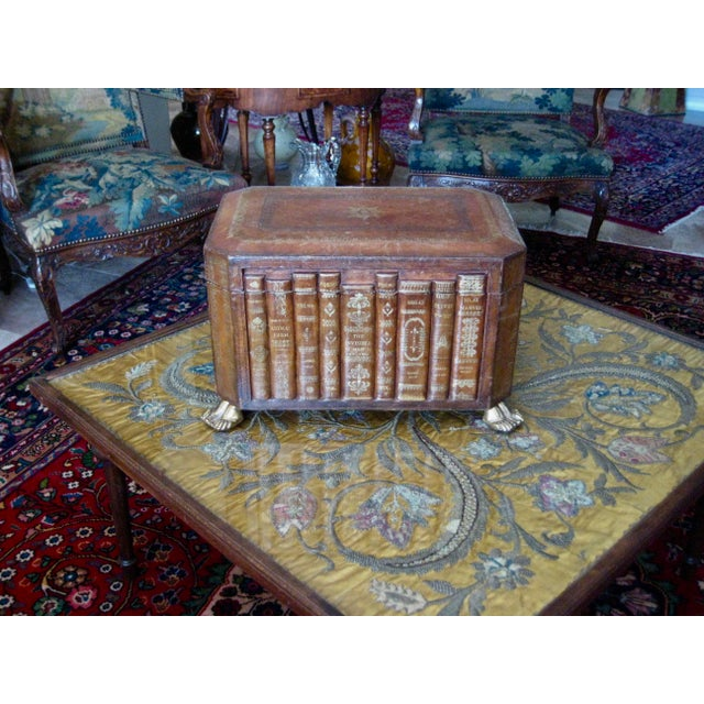 This exceptional book leather box is really a piece of art , large size will for sure make a statement in a decor , feet...