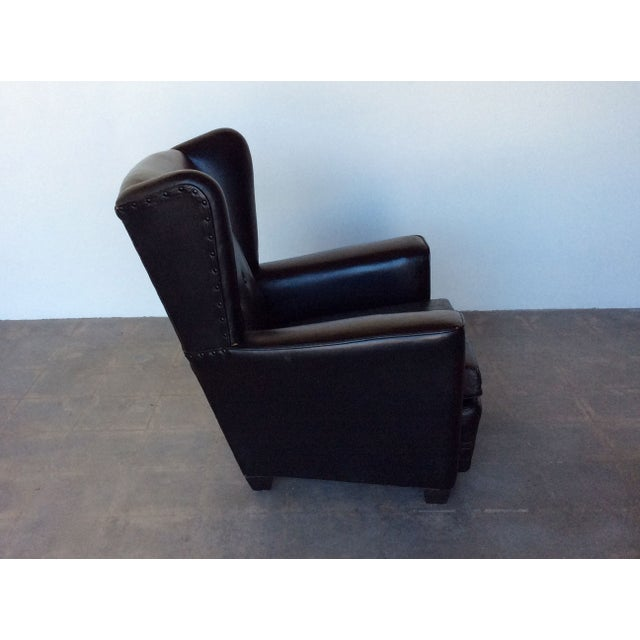 Vintage Black Leather Wing Chair - Image 4 of 7