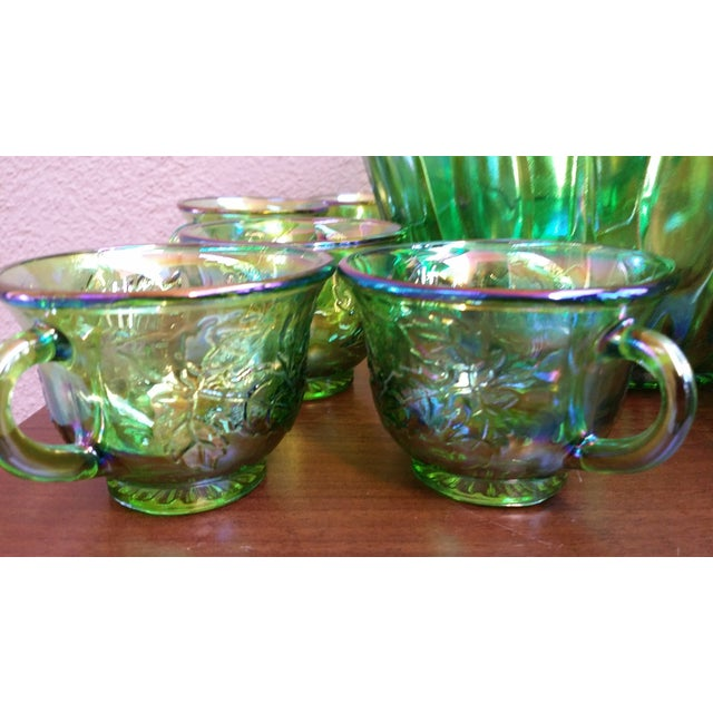 Carnival 1970s Iridescent Green & Brown Glassware - Image 4 of 8