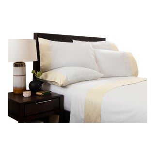Monte Carlo Banded Flat Sheet Queen - Limestone For Sale