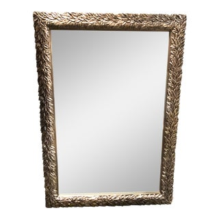 Antiqued Silver Leaf Design Framed Mirror For Sale