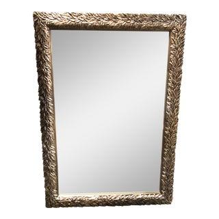 Antiqued Silver Leaf Design Framed Mirror For Sale