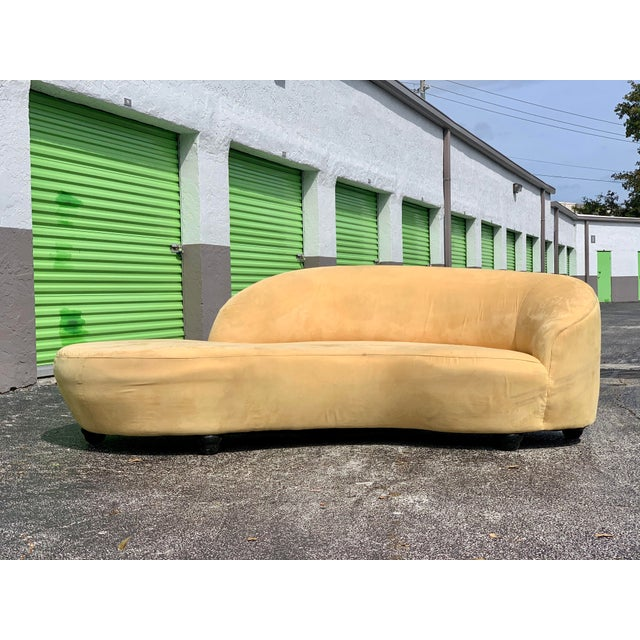 Mid-Century Modern Vladimir Kagan Style Serpentine Tan Cloud Sofa For Sale - Image 3 of 11