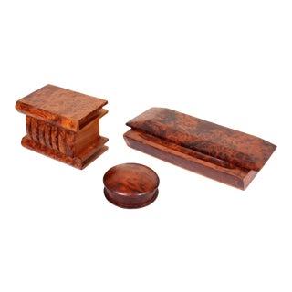 Desk Set of Olive Burlwood, Set of 3 For Sale