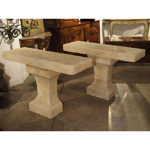 Pair of Carved Limestone Console Tables from the South of France - Image 11 of 11