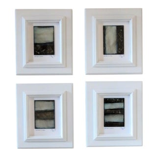 Set of 4 Framed Abstract Oil Fresco Paintings by C. Damien Fox 2018 For Sale