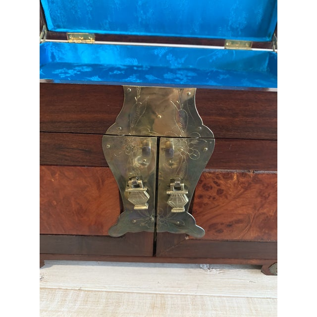 Stunning Vintage Asian Silk Lined Jewelry Box With Flame Mahogany Inlay and Etched Brass Trim and Lantern Pulls For Sale In Lexington, KY - Image 6 of 13