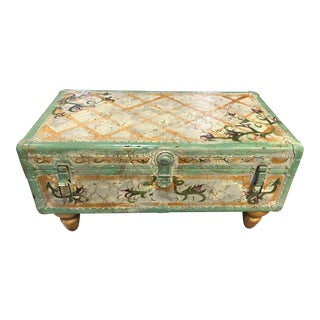 Hand-Painted Storage Trunk For Sale