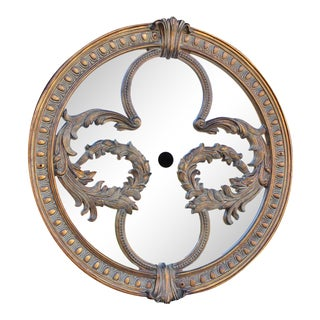 "50"" Mirror Ceiling Medallion French Hollywood Regency Glam Chandelier For Sale"