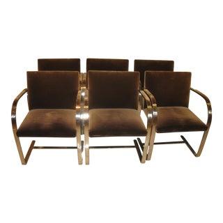 Knoll Brno Flat Bar Polish Stainless Steel & Brown Velvet Regency Dining Room Chairs - Set of 6