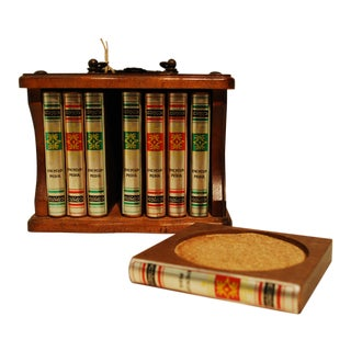 Mid-Century Library Book Coasters - Set of 8