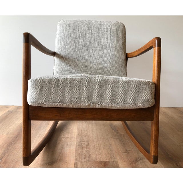 Newly-Upholstered MCM Rocker - Ole Wanscher for France & Daverkosen For Sale - Image 10 of 13
