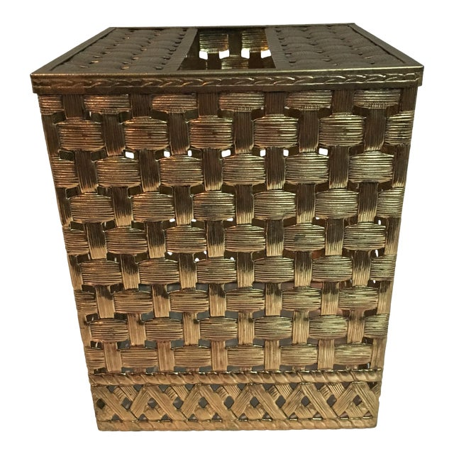 Vintage Brass Weave Tissue Box Holder For Sale