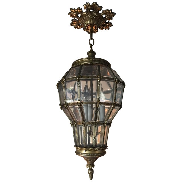 French Gilt Hanging Lantern With Ceiling Escutcheon For Sale - Image 3 of 10