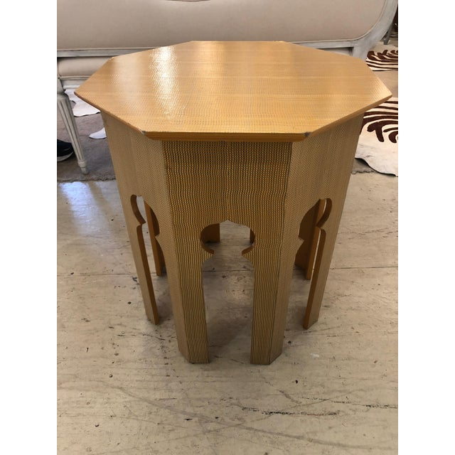 A great Moroccan shaped side table having octagonal top and cut out Moorish openings in the base, wrapped in a mustard...