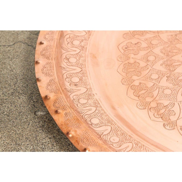 Large Antique Moroccan Copper Tray For Sale In Los Angeles - Image 6 of 9