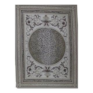 Regency Needlepoint Design Hand Woven Gray Wool Rug - 9' X 12' For Sale