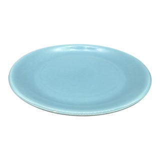 "1940s Contemporary Sunset Pottery's Turquoise 13"" Chop Plate"