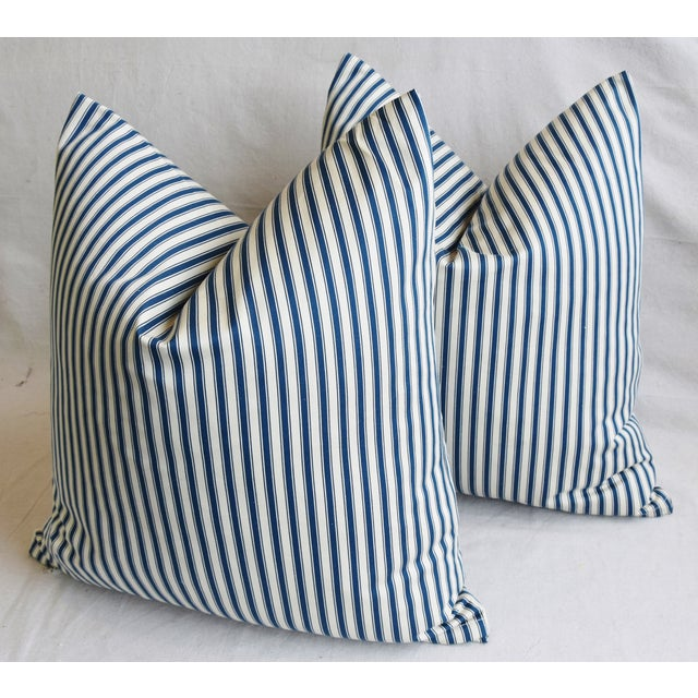 """Blue French Blue & White Feather/Down Ticking Striped Pillows 23"""" Square - Pair For Sale - Image 8 of 13"""
