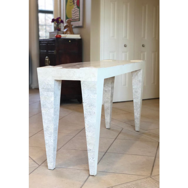 1980s 1980s Postmodern White Tessellated Marble Console For Sale - Image 5 of 6