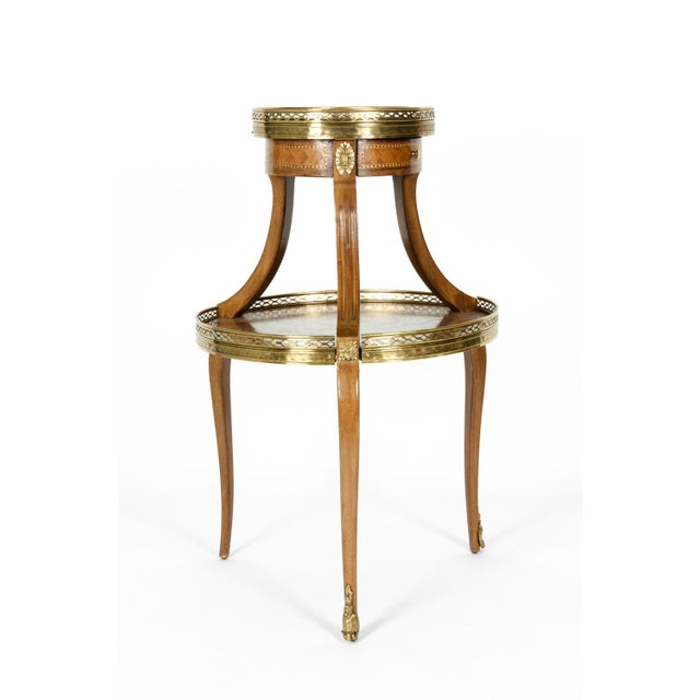 Louis XVI Two-Tier Marble Top Marquetry Side or End Table For Sale - Image 13 of 13