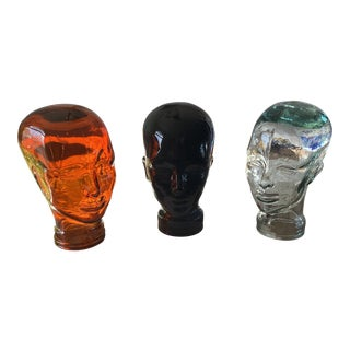 Mid Century Glass Mannequin Heads - Set of 3 For Sale