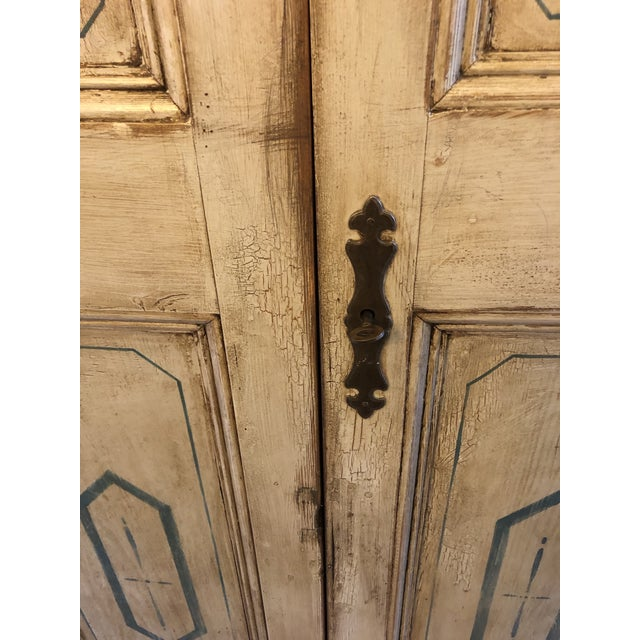 Paint Antique French Country Painted Cupboard For Sale - Image 7 of 11
