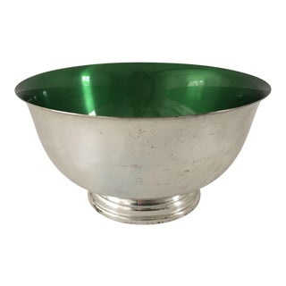 Mid-Century Silver Plated & Green Enamel Footed Bowl
