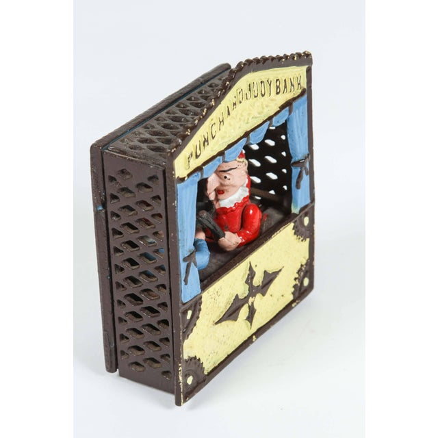 Folk Art Cast Iron Punch and Judy Bank For Sale - Image 3 of 8