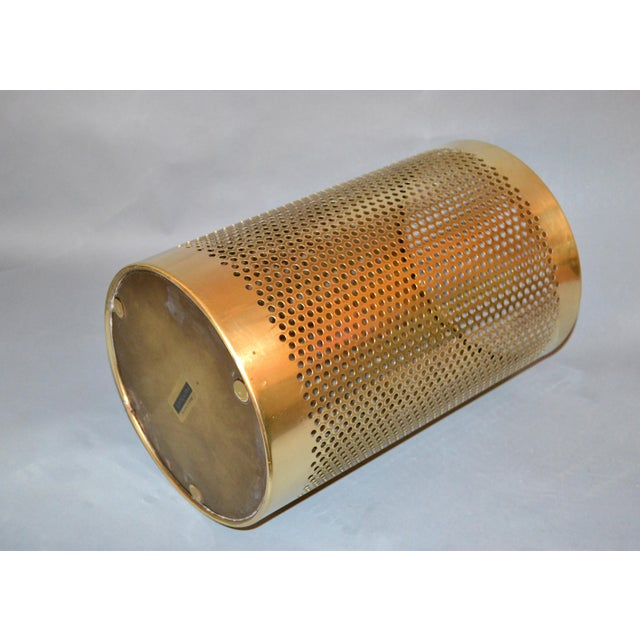 Metal Vintage Italian Frontgate Brass Perforated Trash Waste Basket For Sale - Image 7 of 13