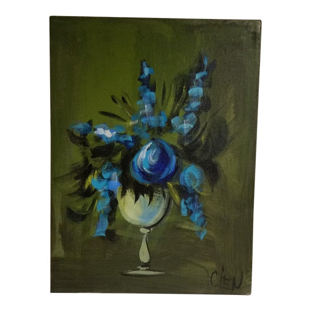 Blue Flowers in a Vase Painting - Image 1 of 5
