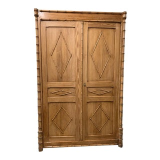 Antique French Pine Two Door Armoire With Faux Bamboo Carved Motif For Sale