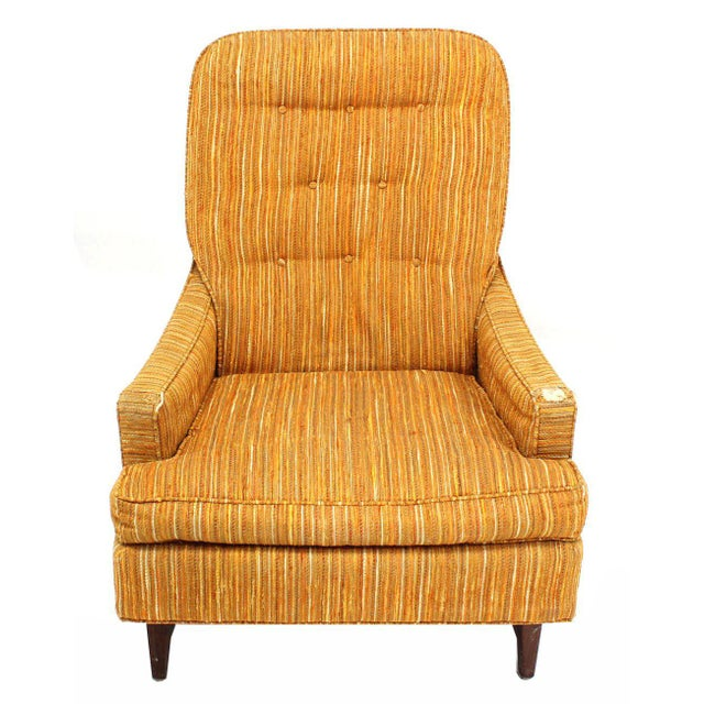 Early 20th Century Selig Lounge Chair and Matching Ottoman with Upholstery For Sale - Image 5 of 9