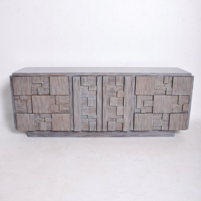 For your consideration, a Mid-Century Modern Brutalist dresser by Lane Patchwork Walnut Tiles. Made in the USA, circa the...
