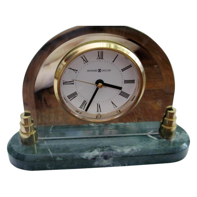 Howard Miller Clock with Green Marble Base - Image 1 of 8